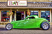 Hot Rod Car Prints - Green Roadster Print by Carol Leigh