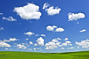 Meadows Photos - Green rolling hills under blue sky by Elena Elisseeva