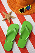 Sunglasses Photo Framed Prints - Green Sandals On Beach Towel Framed Print by Garry Gay