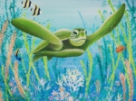 Sea Life - Whales Dolphins Sharks - Green Sea Turtle by Barbara Eberhart - Printscapes