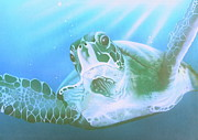 Reptiles Paintings - Green Sea Turtle by Endangered Art