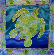 Turquoise Tapestries - Textiles Prints - Green Sea Turtle Silk Painting Print by PattyMara Gourley
