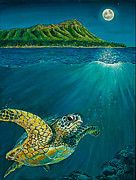 Green Sea Turtle Paintings - Green Sea Turtle under Diamond Head Hawaii by Mary Abing
