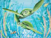 Ocean Turtle Paintings - Green Sea Turtles by Barbara Eberhart - Printscapes