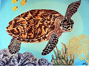 Sea Turtles Painting Metal Prints - Green SeaTurtle 1 Metal Print by Nanci Fielder