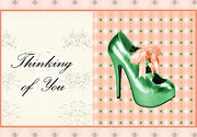 Prints Of Fashion Posters - Green Shoe Thinking of You Poster by Maralaina Holliday
