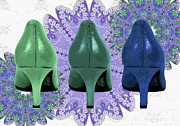 Purple Lace Shoes Posters - Green shoes on purple Lace Poster by Maralaina Holliday