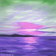 Beach Sunset Paintings - Green Skies and Purple Seas Sunset by Gina De Gorna