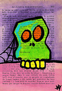 Spider Drawings Posters - Green Skull Poster by Jera Sky