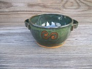 Bowl Ceramics - Green Soup Bowl by Monika Hood