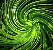At Work Mixed Media Prints - Green Spin Art Print by Debra     Vatalaro