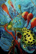 Puffer Fish Paintings - Green Spotted Puffer by Gregory Merlin Brown