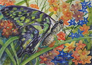 Spring Scenes Originals - Green-Spotted Triangle Butterfly by Phong Trinh