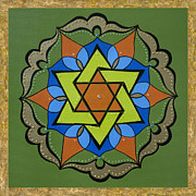 Chanting Prints - Green Star Mandala Print by Jean Kowalski