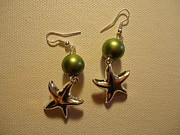Glitter Earrings Jewelry Metal Prints - Green Starfish Earrings Metal Print by Jenna Green