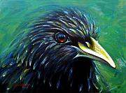 Starlings Paintings - Green Starling by Don Wesley