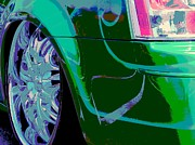 Tricked-out Cars Posters - Green Swirl Poster by Chuck Re