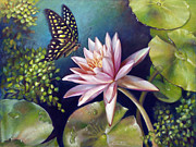 Coconut Paintings - Green Tailed Jay Butterfly and Water Lily by Nancy Tilles