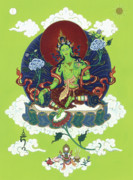 Tibetan Art Paintings - Green Tara by Carmen Mensink