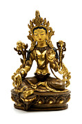 Virtues Prints - Green Tara Print by Fabrizio Troiani