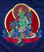 Fabric Tapestries - Textiles Framed Prints - Green Tara Framed Print by Leslie Rinchen-Wongmo