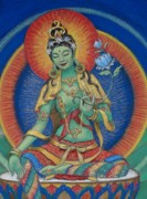 Buddhist Pastels Framed Prints - Green Tara Framed Print by Sue Halstenberg