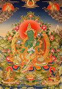 Tibetan Art Paintings - Green Tara the Liberatrice by Art School