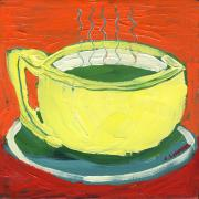Vivid Orange Paintings - Green Tea by Jennifer Lommers