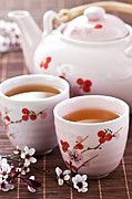 Cherry Blossom Prints - Green tea set Print by Elena Elisseeva