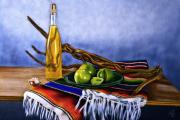Tomatoes Mixed Media Prints - Green Tomato Wine Print by Artographs Fine Art
