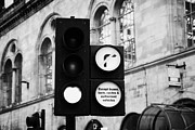 Instruction Framed Prints - Green Traffic Light Signal With No Right Turn Except Buses Taxis Cycles And Authorised Vehicles Glas Framed Print by Joe Fox
