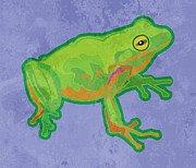 Tree Frog Prints - Green Tree Frog Print by Mary Ogle