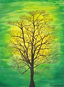 Strength Painting Posters - Green Tree Poster by Lori  Theim-Busch