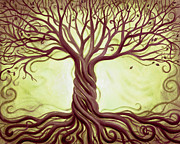 Tree Roots Painting Framed Prints - Green Tree of Life Framed Print by Renee Womack