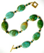 Malachite Jewelry - Green Turquoise with Malachite by Pat Stevens