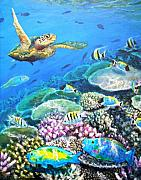 Parrotfish Paintings - Green Turtle with Parrotfish by Jennifer Belote