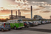 Civitavecchia Prints - Green Van and Tirreno Power Print by Marco Borzacconi