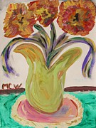 Primitive Art Drawings Prints - Green Vase Allure Print by Mary Carol Williams