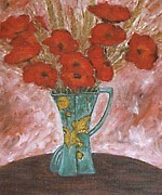 Poppies Artwork Paintings - Green Vase by Patrick J Murphy