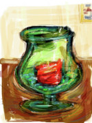 Glass Beads Prints - Green Vase Print by Russell Pierce