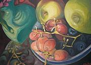 Aleksandra Buha Art - Green Vase with Grapes and Apples by Aleksandra Buha