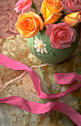 Pink Ribbon Prints - Green vase with roses Print by Garry Gay