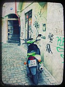 Cobblestone Street Prints - Green Vespa in Prague Print by Linda Woods