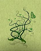 Svetlana Sewell Mixed Media Prints - Green Vine and Butterfly Print by Svetlana Sewell