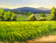 Grape Vineyards Posters - Green Vines Blue Hills Poster by Char Wood