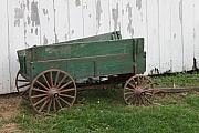 Wagon Wheels Photos - Green Wagon by Lauri Novak