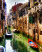 Boats Pastels Prints - Green Water  Print by Stefan Kuhn