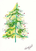 Christmas Notecard Originals - Green Watercolor Christmas Tree by Michele Hollister - for Nancy Asbell