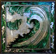 Waves Sculptures - Green Wave n seahorses by Laura  Knight
