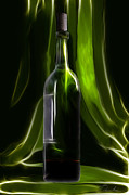 Cheers Prints - Green wine bottle Print by Danuta Bennett